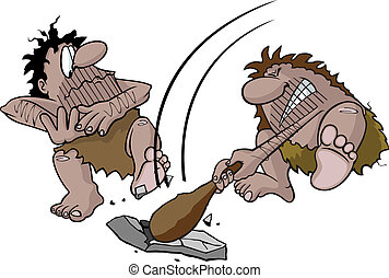 Caveman swinging club - Cartoon caveman hitting rock with...