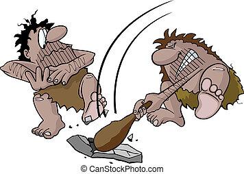 Caveman swinging club - Cartoon caveman hitting rock with ...