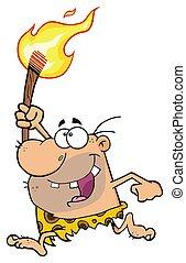 caveman, torcia, carattere, correndo, cartone animato, felice