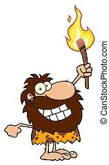 caveman, torcia, carattere, su, presa a terra, cartone animato, felice