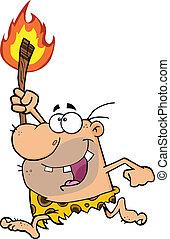 caveman, torcia, correndo, felice