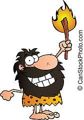 caveman, torcia, su, presa a terra, felice