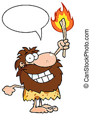 caveman, torcia, su, presa a terra, infocato