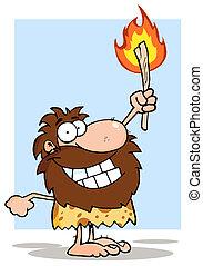 caveman, torcia, su, presa a terra