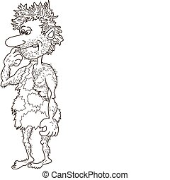 caveman, uomo, contorni