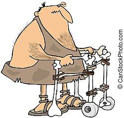 Caveman using a walker - This illustration depicts a caveman...