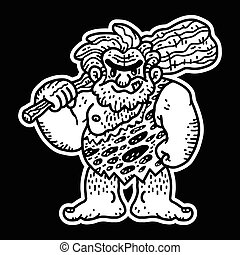caveman, vettore, cartone animato