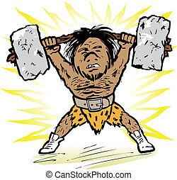 Caveman Weightlifter - Prehistoric little man lifting a...