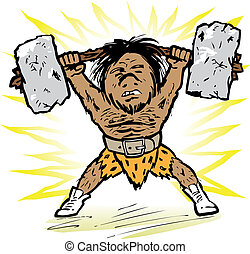 Caveman Weightlifter - Prehistoric little man lifting a...