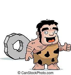 A happy cartoon caveman with a wheel.