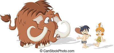 caveman with a Mammoth - Cartoon caveman and cave woman with...
