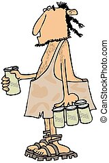 Caveman with a six-pack - This illustration depicts a ...