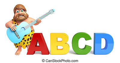 Caveman with Gitar & abcd sign