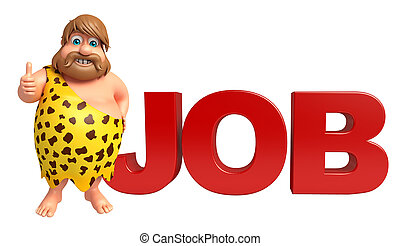 Caveman with Job sign