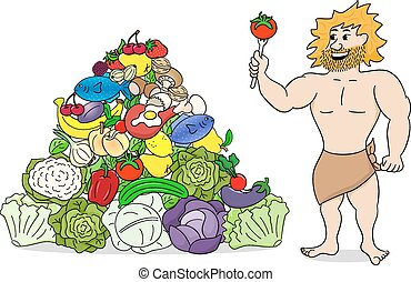 caveman with paleo food pyramid - vector illustration of a...