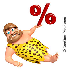 Caveman with Percentage sign