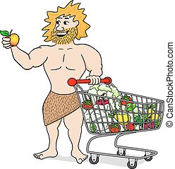 caveman with shopping cart filled with fruit and vegetables...