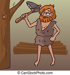 caveman with stone ax chops branches on tree, vector cartoon...