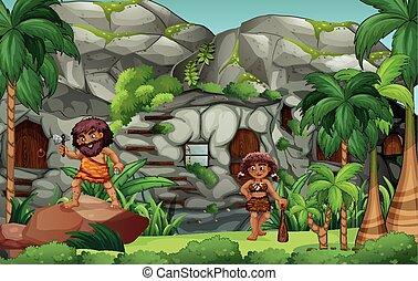 cavemen, 생존, 에서, 그만큼, 돌 집