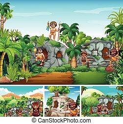 cavemen, 생존, 에서, 돌 집