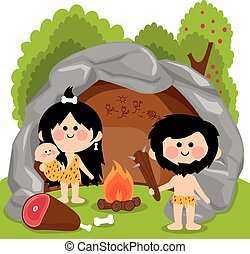 Cavemen family in stone cave