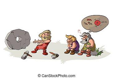 Cavemen inventing the wheel.