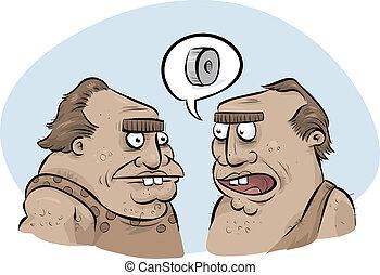 Cavemen Inventing Wheel