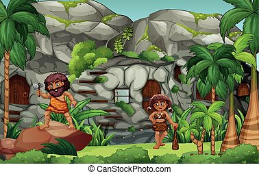 Cavemen living in the stone house