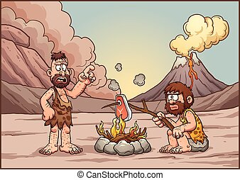 Cavemen talking - A couple of cavemen discussing over a...
