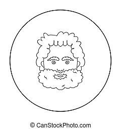 cavernícola, cara, icono, en, contorno, estilo, aislado, blanco, fondo., edad piedra, símbolo, acción, vector, illustration.