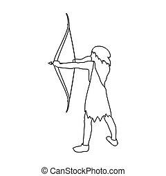 cavernícola, con el arco y la flecha, icono, en, contorno, estilo, aislado, blanco, fondo., edad piedra, símbolo, acción, vector, illustration.