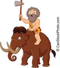 cavernícola, equitación, un, mamut