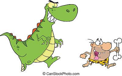cavernícola, perseguir, dinosaurio, enojado