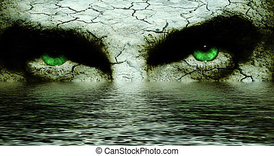 Cavern eyes - Mysterious cracked face with intense green...