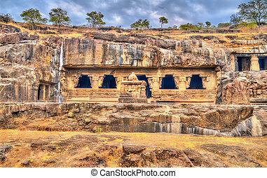 caverna, 21, unesco, rameshwar, índia, local, maharashtra, ellora, herança, mundo, complex., templo