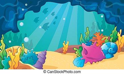 caverna, caricatura, escudos mar