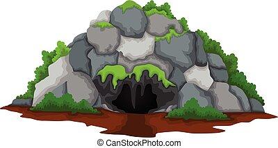 caverna, cartone animato, fondo, foresta