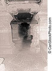 caverna, corredor, lankeshwar, caverna, n, pilares, lankesvara