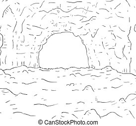 caverna, disegno, illustrazione