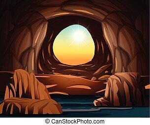 caverna, luce sole, apertura