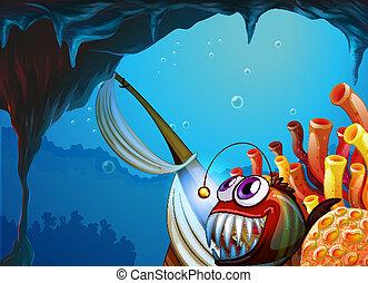 caverna, mare, sotto