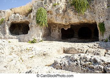 caverna, neapolis, em, syracuse, -, sicília