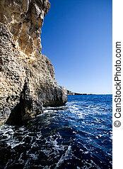 caverna, oceânicos, penhasco