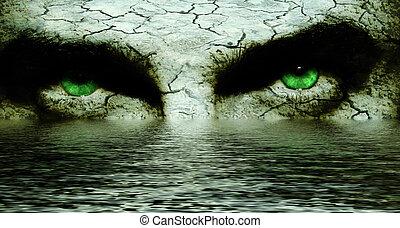caverna, ojos