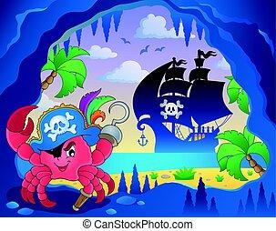 caverna, pirata, carangueijo