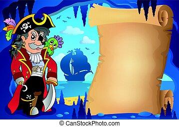 caverna, pirata, pergaminho