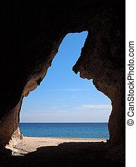 caverna, spiaggia, vista mare