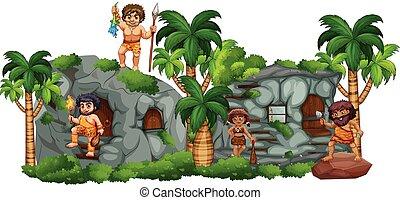caverne, famille