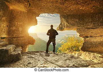 caverne, mountain., homme