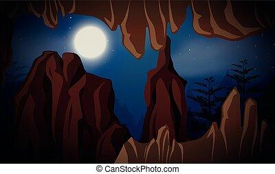 caverne, scène, nuit